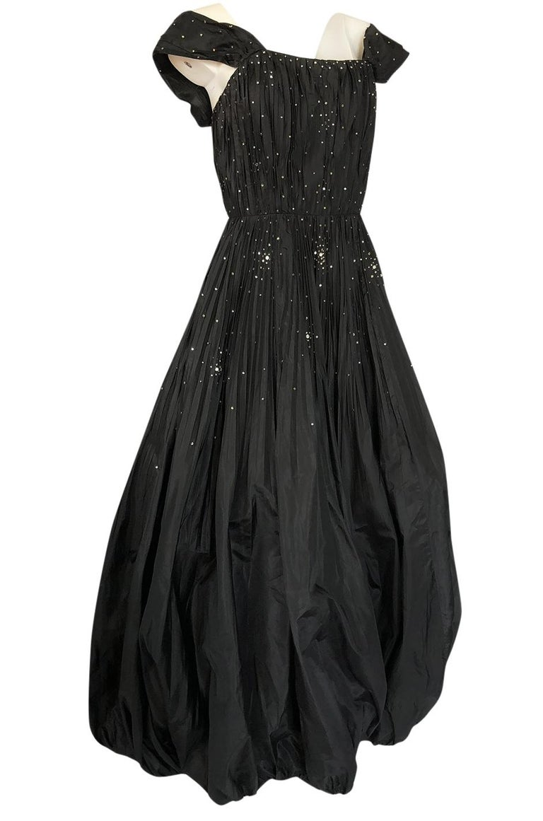 Women's 1950s Norman Hartnell Haute Couture Rhinestone Detailed Bubble Hem Dress For Sale