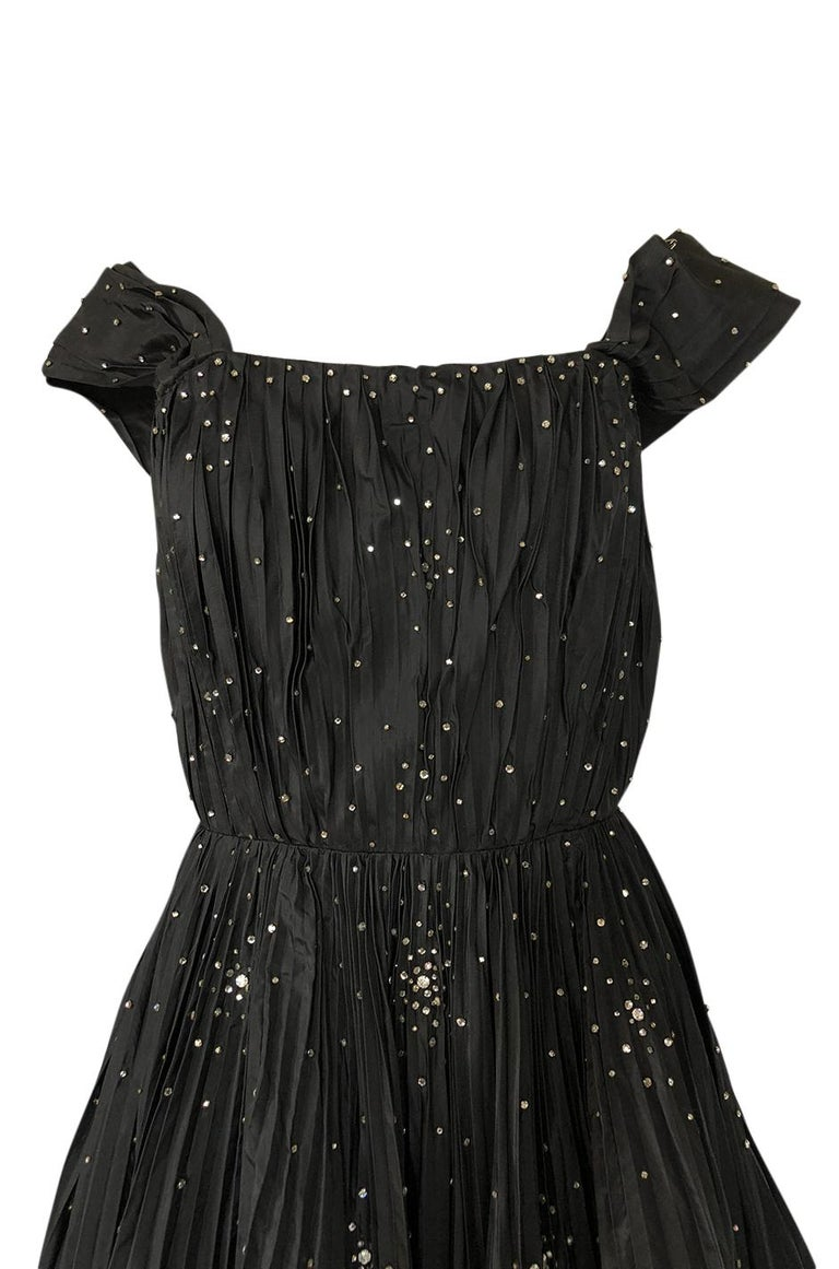 14492064f253 1950s Norman Hartnell Haute Couture Rhinestone Detailed Bubble Hem Dress  For Sale 1