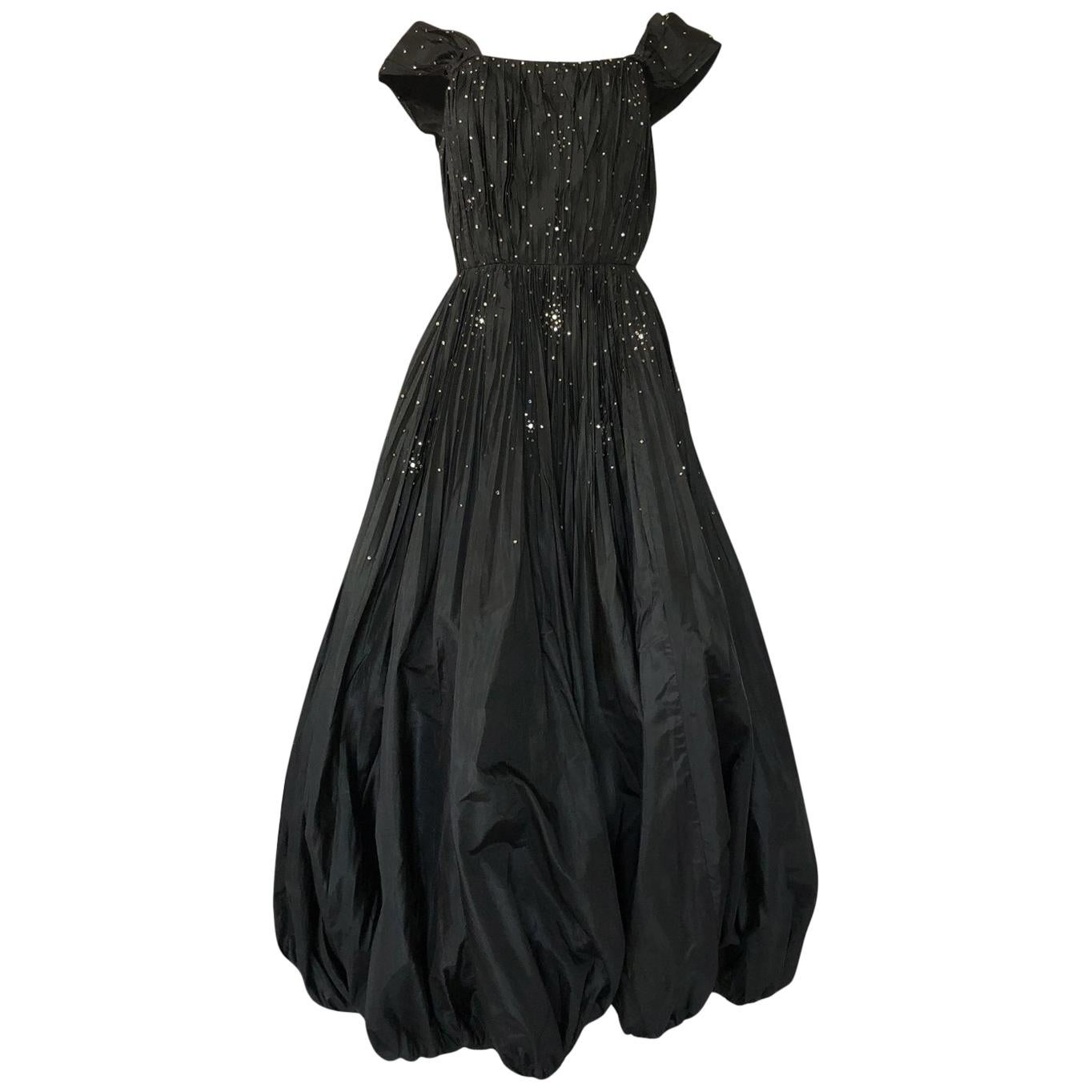 045f54c55c04 1960s Norman Hartnell for Neiman Marcus Black Wool Beaded Dress For Sale at  1stdibs