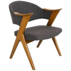 1950s Norwegian Midcentury Grey 'Blinken' Beech Desk Chair by Rastad & Relling