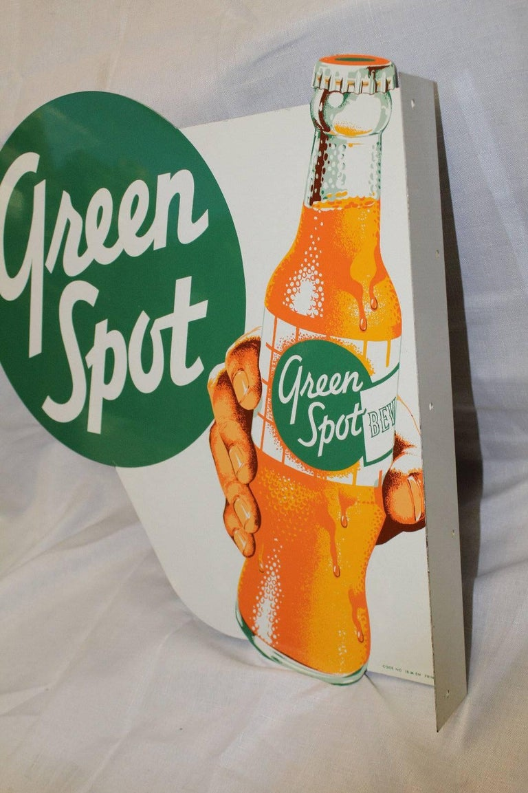 1950s NOS Green Spot Orange Soda Double-Sided Advertising Tin Flange Sign For Sale 4