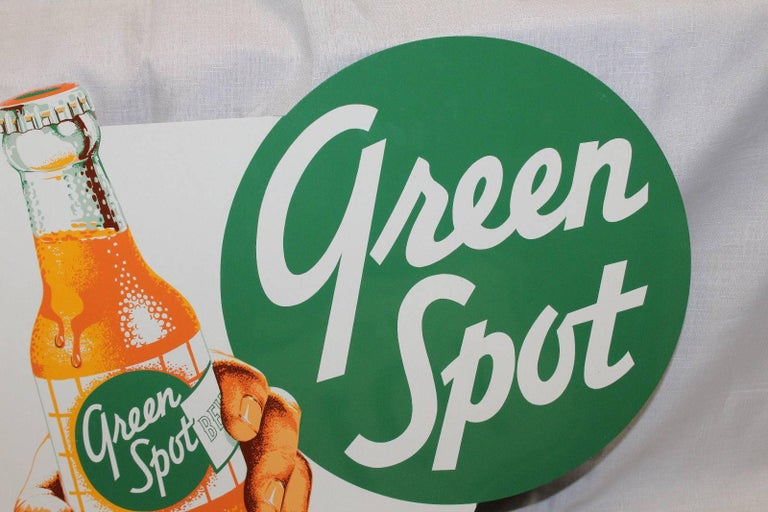 Mid-Century Modern 1950s NOS Green Spot Orange Soda Double-Sided Advertising Tin Flange Sign For Sale