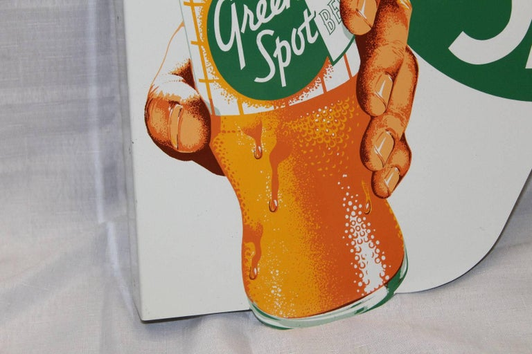 American 1950s NOS Green Spot Orange Soda Double-Sided Advertising Tin Flange Sign For Sale