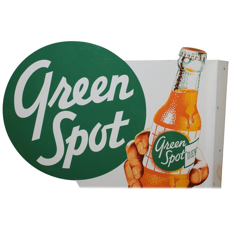 Mid-20th Century 1950s NOS Green Spot Orange Soda Double-Sided Advertising Tin Flange Sign For Sale