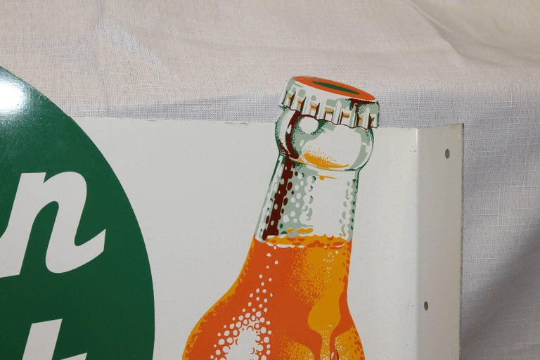 Metal 1950s NOS Green Spot Orange Soda Double-Sided Advertising Tin Flange Sign For Sale