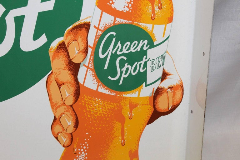 1950s NOS Green Spot Orange Soda Double-Sided Advertising Tin Flange Sign For Sale 1