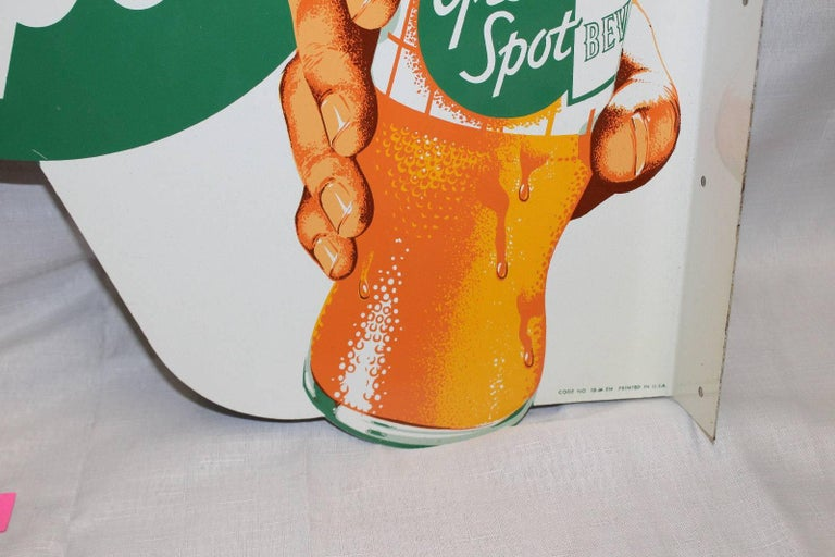 1950s NOS Green Spot Orange Soda Double-Sided Advertising Tin Flange Sign For Sale 2