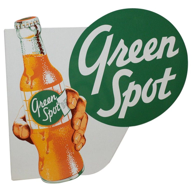 1950s NOS Green Spot Orange Soda Double-Sided Advertising Tin Flange Sign For Sale