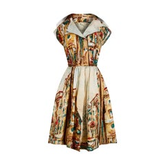 1950s Novelty Abstract Printed Silk Dress With Broad Lapel and Button Detail