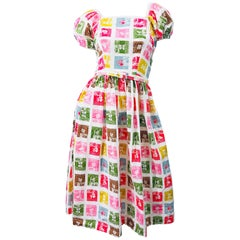 1950s Novelty Print Butterfly Flowers Colorful Fit n' Flare Vintage 50s Dress