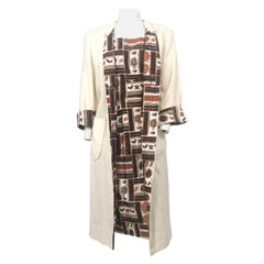 1950s Novelty Printed Cotton Dress with Coat