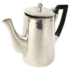 1950s NYC Waldorf Astoria Hotel MCM Silver Plated Tea Pot with Black Handle