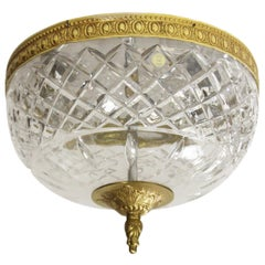 1950s NYC Waldorf Astoria Hotel Wide Crystal Flush Mount Light