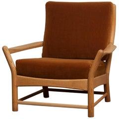 1950s, Oak and Brown Velvet Lounge Arm Easy Chair from Denmark