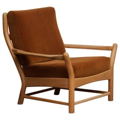 1950s, Oak and Brown Velvet Lounge Arm Easy Chair from Denmark