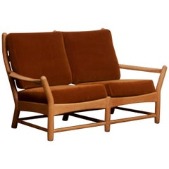 1950s, Oak and Brown Velvet Lounge Arm Easy Sofa from Denmark
