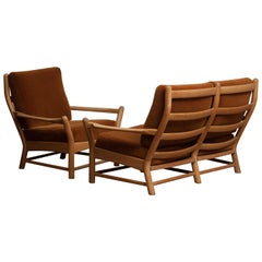 1950s, Oak and Brown Velvet Sofa and Chair Lounge Set from Denmark