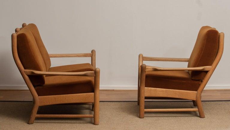 Danish 1950s, Oak and Brown Velvet Sofa and Chair Lounge Set from Denmark