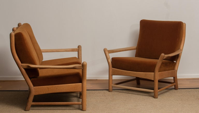 1950s, Oak and Brown Velvet Sofa and Chair Lounge Set from Denmark In Good Condition In Silvolde, Gelderland