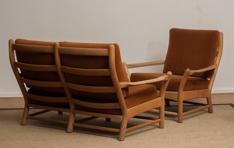 Mid-20th Century 1950s, Oak and Brown Velvet Sofa and Chair Lounge Set from Denmark