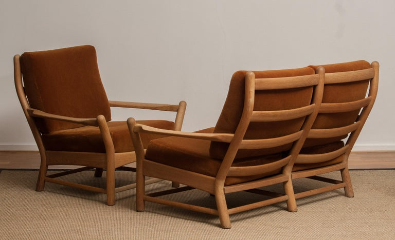 1950s, Oak and Brown Velvet Sofa and Chair Lounge Set from Denmark 1