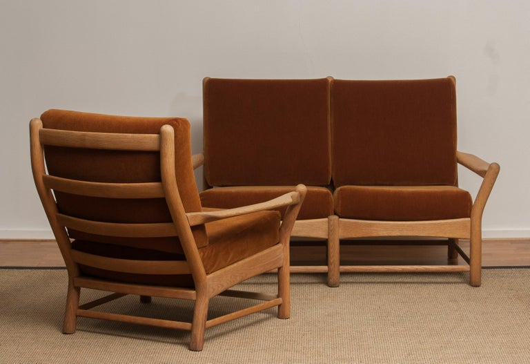 1950s, Oak and Brown Velvet Sofa and Chair Lounge Set from Denmark 2