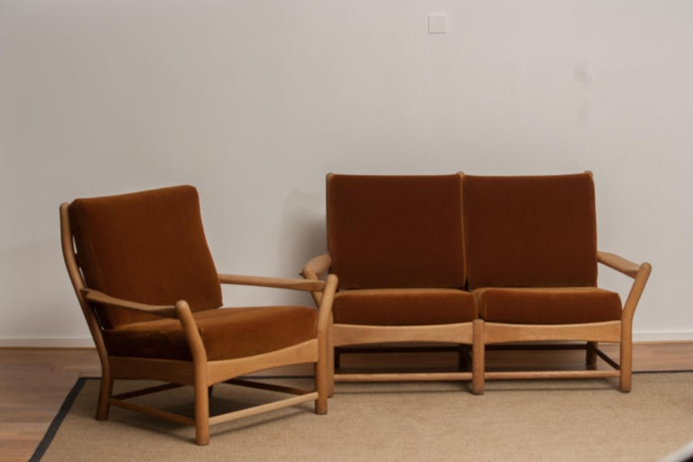 1950s, Oak and Brown Velvet Sofa and Chair Lounge Set from Denmark 3