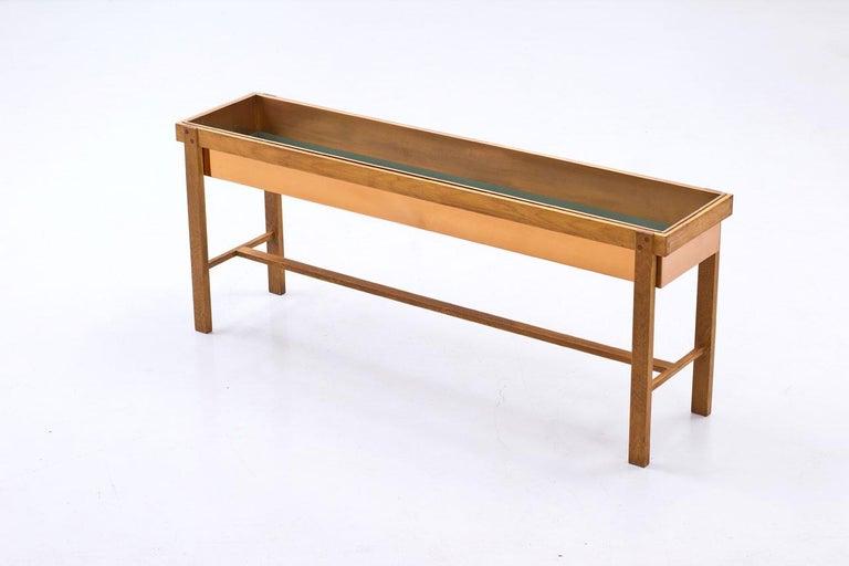 Scandinavian Modern 1950s Oak & Copper Flower Table, Sweden For Sale