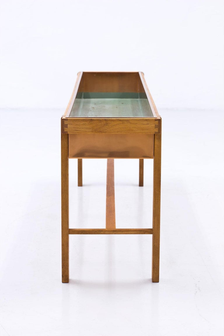 Swedish 1950s Oak & Copper Flower Table, Sweden For Sale