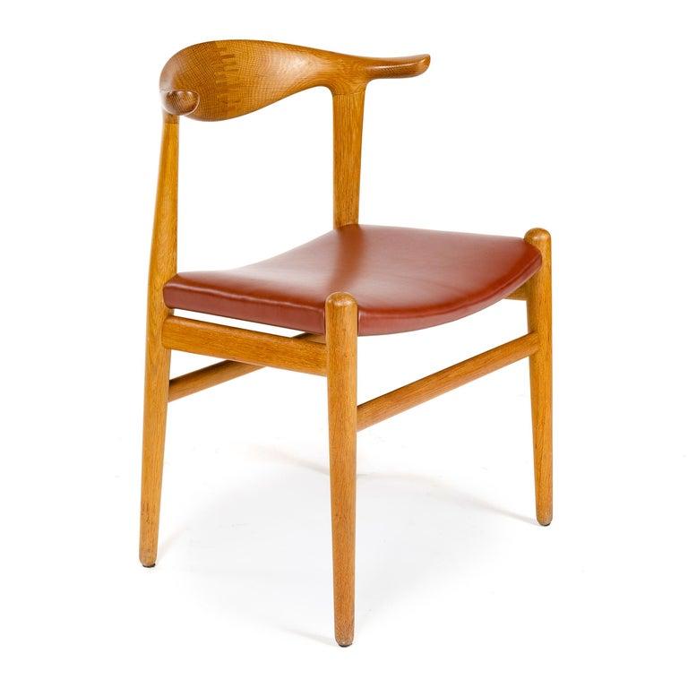Scandinavian Modern 1950s Oak Cow Horn Chair by Hans J. Wegner for Johannes Hansen For Sale