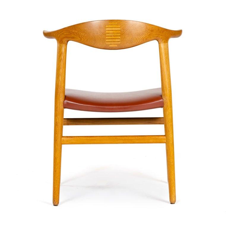 Leather 1950s Oak Cow Horn Chair by Hans J. Wegner for Johannes Hansen For Sale
