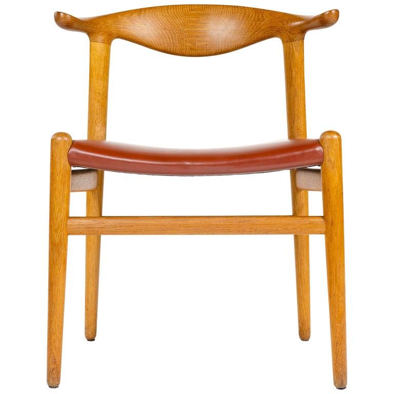 1950s Oak Cow Horn Chair by Hans J. Wegner for Johannes Hansen For Sale