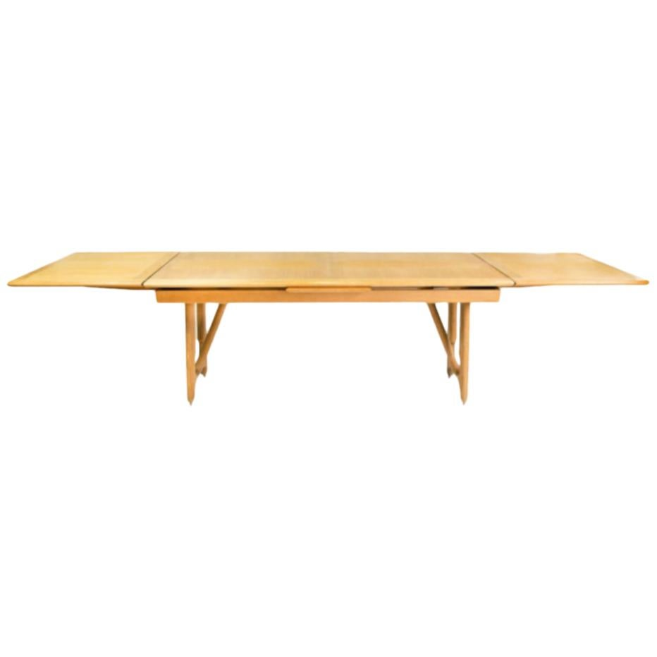 1950s Oak Dining or Library Table by Guillerme & Chambron