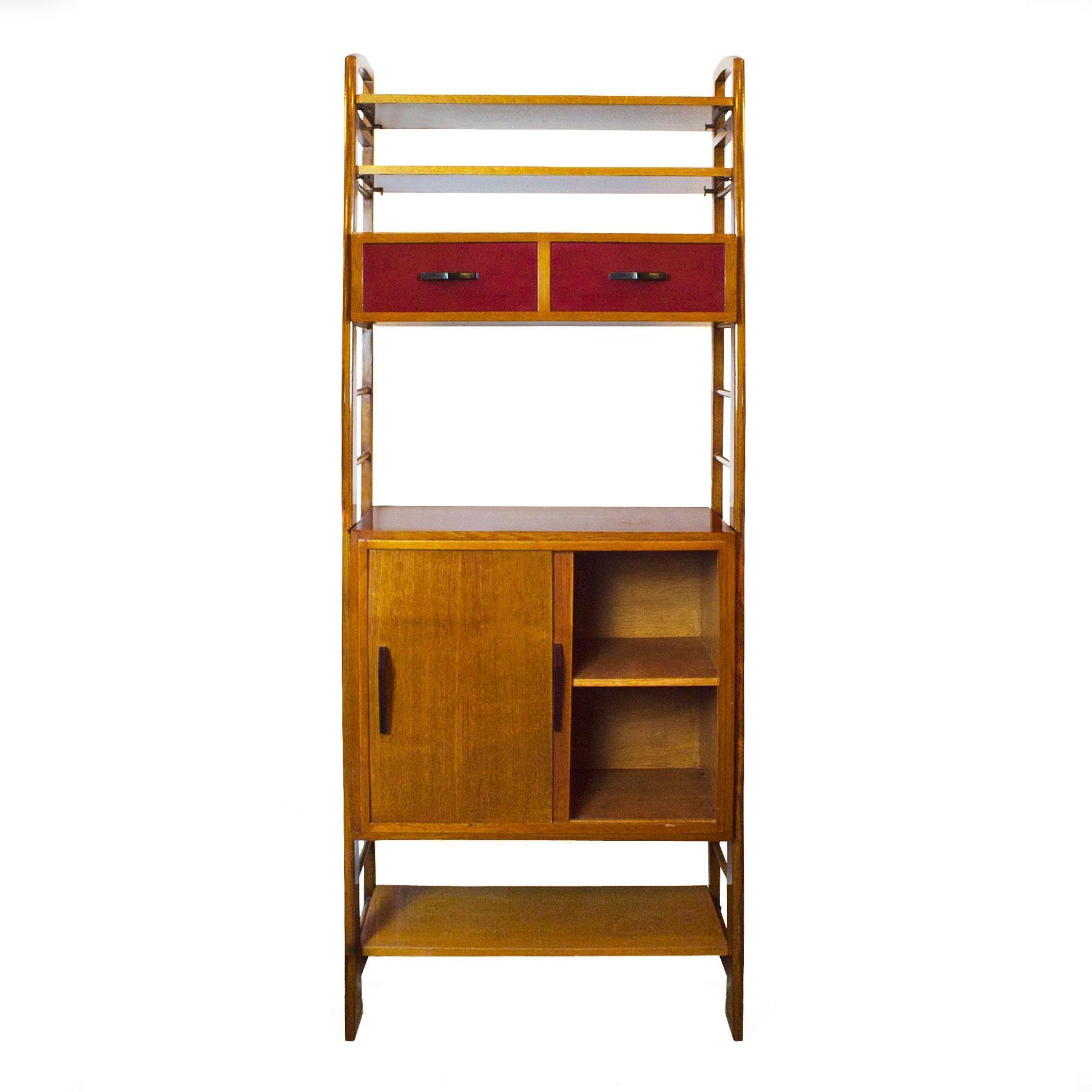 1950s Oak Modulus Storage Cabinet Sliding Doors And Shelves