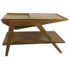 1950s Oak Side Table Attributed to René-Jean Caillette