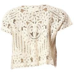 1950S Off White Cotton Handmade Lace Vest Top