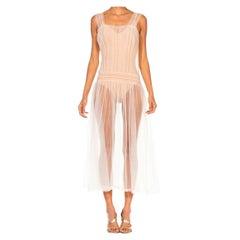 1950S Off White Soft Nylon Tulle Floaty Sheer Dress