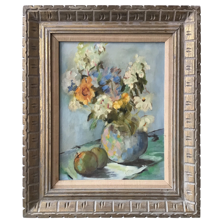 1950s Oil on Canvas of a Floral Arrangement