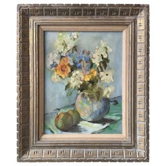 1950s Oil on Canvas of a Floral Arrangement