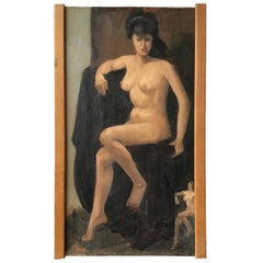 1950s Oil on Canvas of a Nude Woman