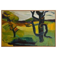 1950s Oil Painting of British Landscape in Vibrant Green Tones by Barbara Knight