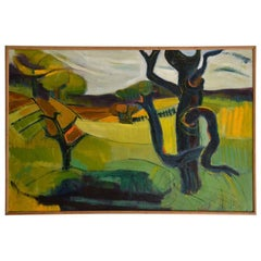1950s Oil Painting of British Landscape in Vibrant Green by Barbara Knight
