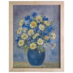 1950s Oil Painting of Flowers in Vase