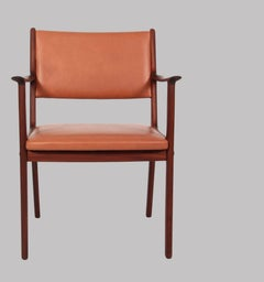 1950s Ole Wanscher Set of Two PJ 412 Armchairs in Mahogany and Brown Leather