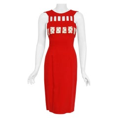 1950's Oleg Cassini Red Linen and Polka-Dot Silk Cut Out Hourglass Wiggle Dress