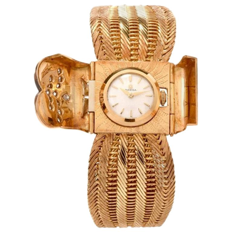 1950s Omega Diamond 18 Karat Gold Ladies Cocktail Bracelet Watch