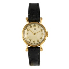 1950s Omega Leather 18 Karat Yellow Gold Ladies Wristwatch