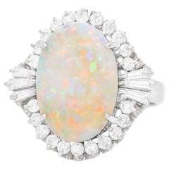 1950s Opal and Diamond-Set Platinum Ring