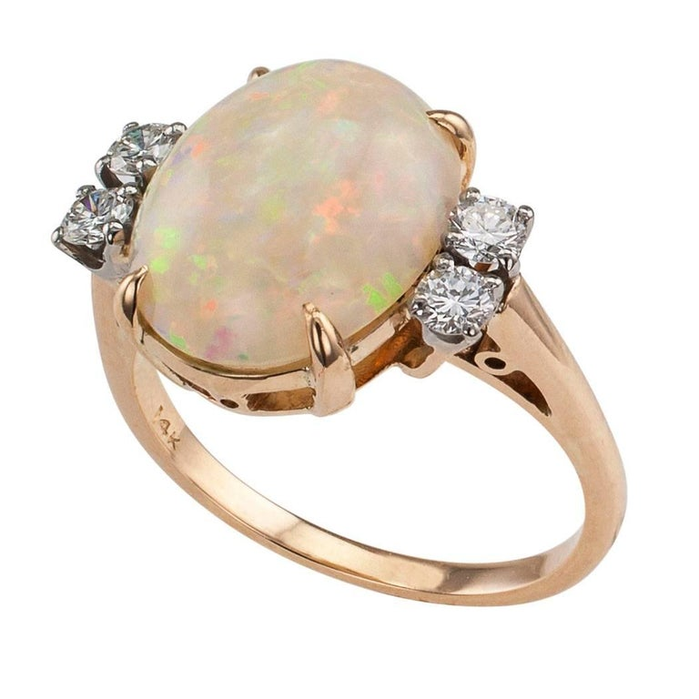 1950s Opal Diamond Gold Ring