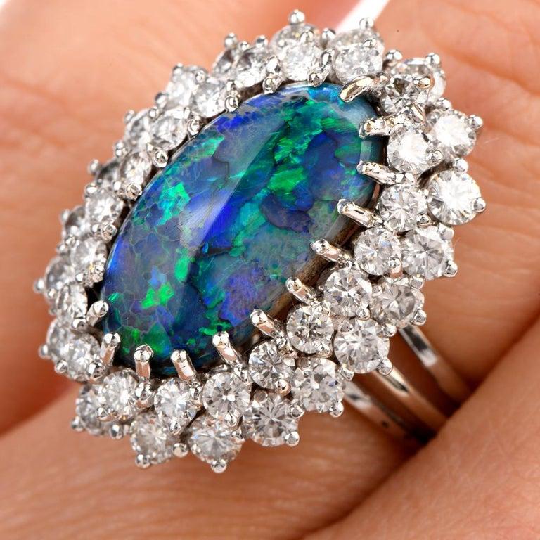 Art Deco 1950s Opal Double Halo Diamond 18 Karat White Gold Cocktail Ring For Sale